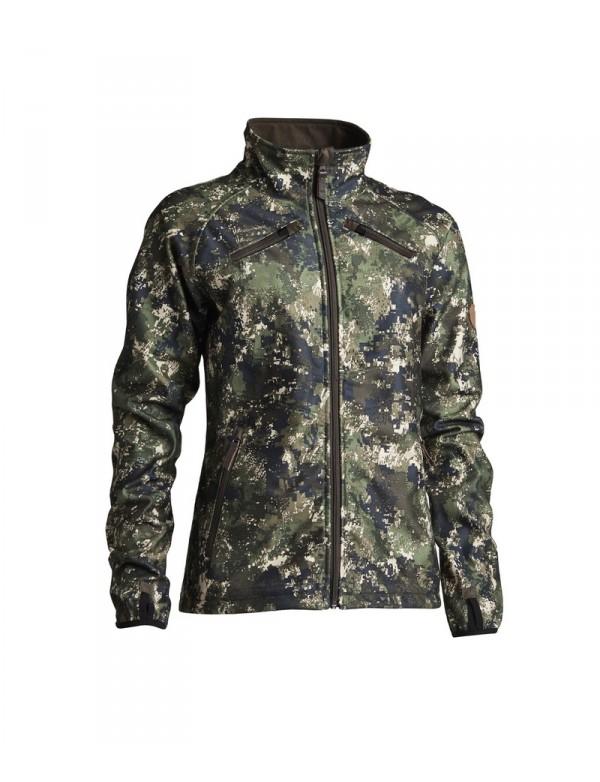 Vendbar camo fleece jakke til kvinder. Super praktisk til dine jagter.