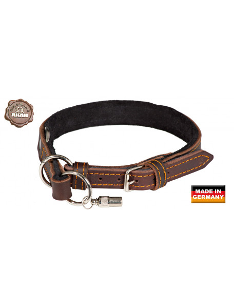 Dog collar in leather with quick release