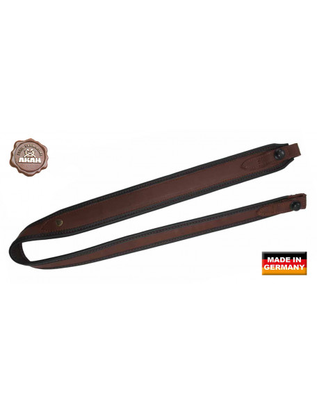 Brown rifle belt in moose leather with quick closure