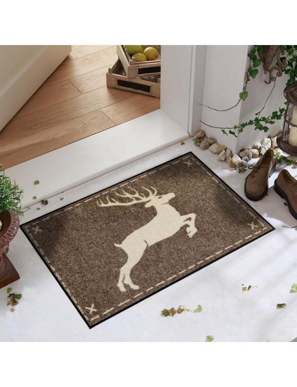 Brown door mat with deer motif