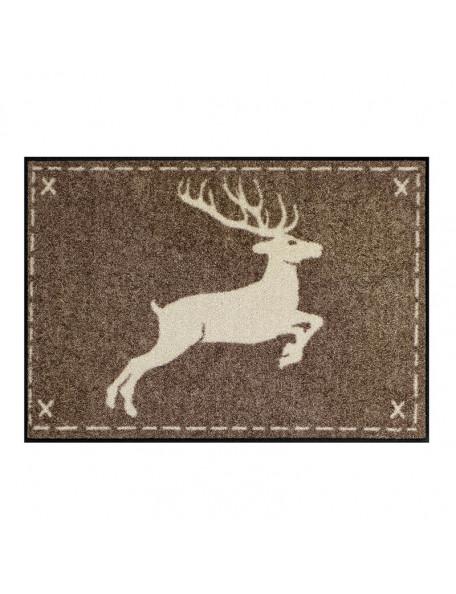 Brun dørmåtte med springende hjort