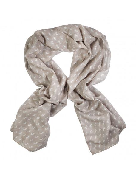 Tørklæde med hjortemotiver til kvinder i beige