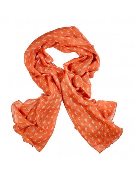 Tørklæde med hjortemotiver til kvinder i orange