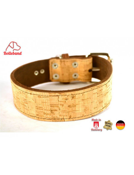 Dog collar in leather and cork