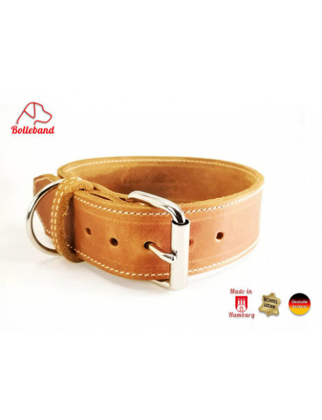 Dog collar in leather - Classic Cognac