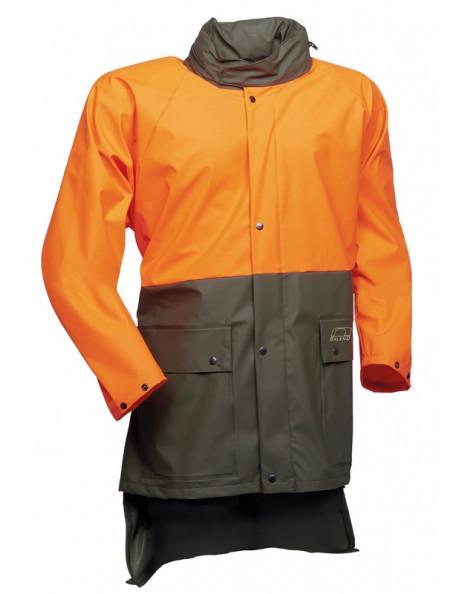 Regnjacka med orange säkerhetsfärg från Baleno