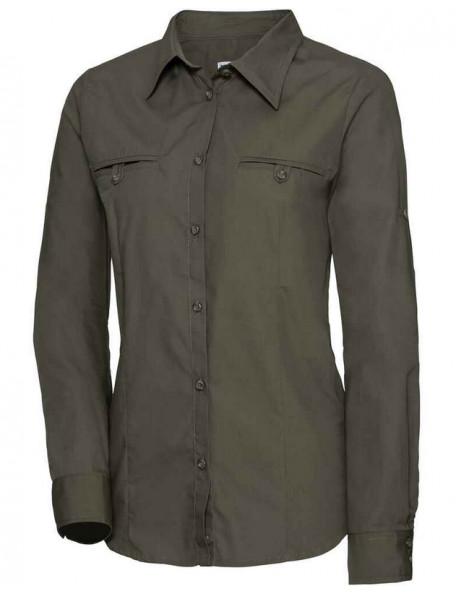Feminin mørkegrøn jagtskjorte til damer