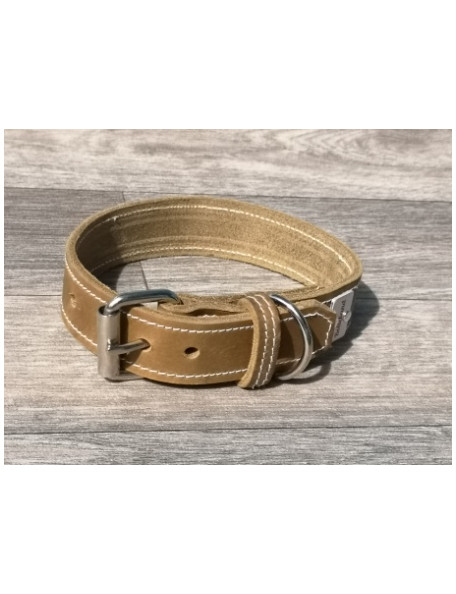 Olive colored dog collar in leather